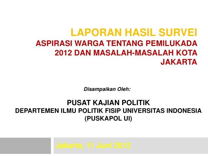 LAPORAN HASIL SURVEI     ASPIRASI WARGA TENTANG PEMILUKADA         2012 DAN MASALAH-MASALAH KOTA                          ...