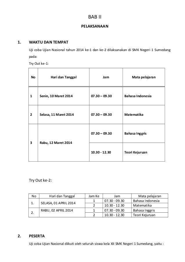 Laporan Try Out Smkn 1 Sumedang 2014
