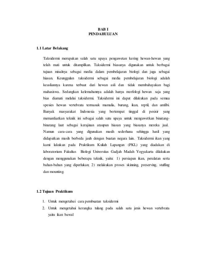 Laporan PKL Pembuatan Taksidermis di UGM