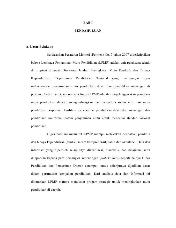 BAB I                                   PENDAHULUAN    A. Latar Belakang               Berdasarkan Peraturan Menteri (Perm...