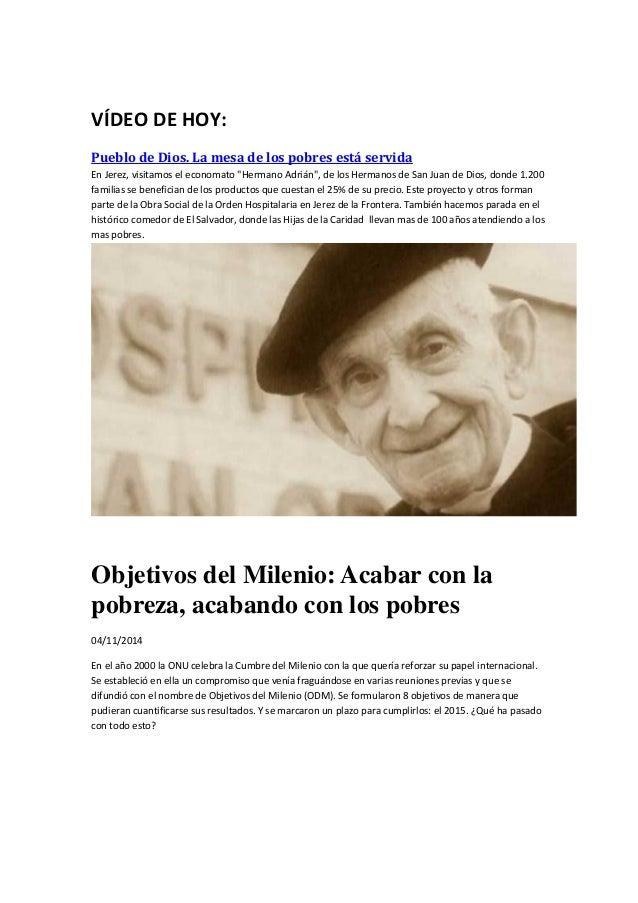 """VÍDEO DE HOY:  Pueblo de Dios. La mesa de los pobres está servida  En Jerez, visitamos el economato """"Hermano Adrián"""", de l..."""