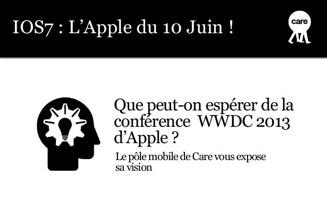 Que peut-on espérer de laconférence WWDC 2013d'Apple ?IOS7 : L'Apple du 10 Juin !LepôlemobiledeCarevousexposesavision