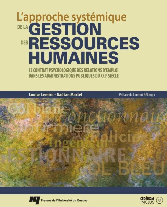 L'approche systémique GESTION RESSOURCES HUMAINES DE LA DES