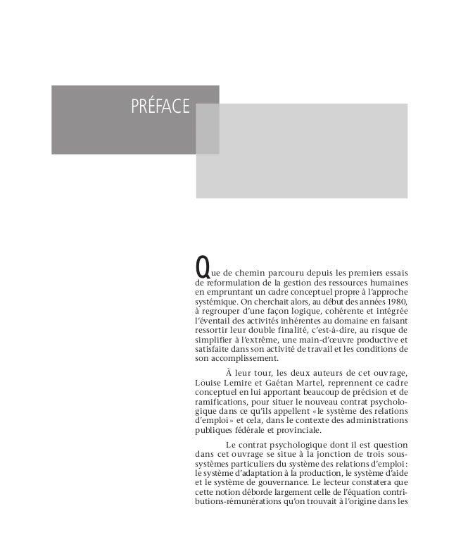 Table des matières xiii Partie 2 . LE CONTRAT PSYCHOLOGIQUE  .  .  .  .  .  .  .  .  .  .  .  .  .  .  .  .  .  .  .  . ...