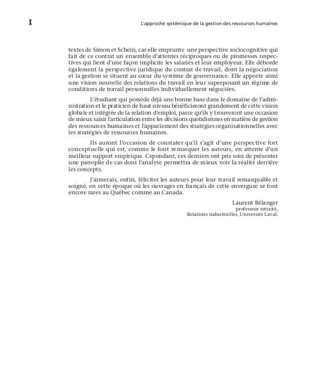 xiv L'approche systémique de la gestion des ressources humaines 5.5 Les relations entre les COPIN et d'autres théories ....
