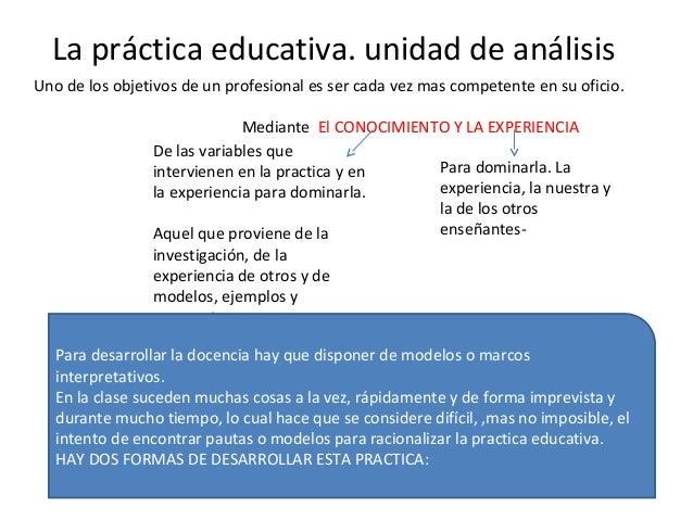 La práctica educativa. unidad de análisis Uno de los objetivos de un profesional es ser cada vez mas competente en su ofic...