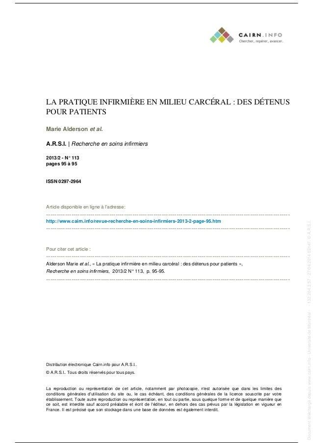 LA PRATIQUE INFIRMIÈRE EN MILIEU CARCÉRAL : DES DÉTENUS POUR PATIENTS Marie Alderson et al. A.R.S.I. | Recherche en soins ...
