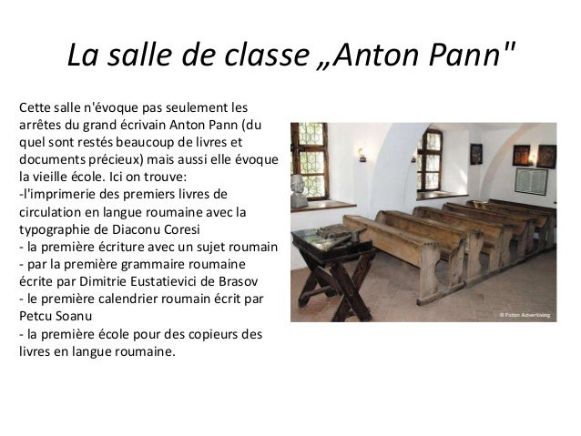 """La salle de classe """"Anton Pann"""" Cette salle n'évoque pas seulement les arrêtes du grand écrivain Anton Pann (du quel sont ..."""