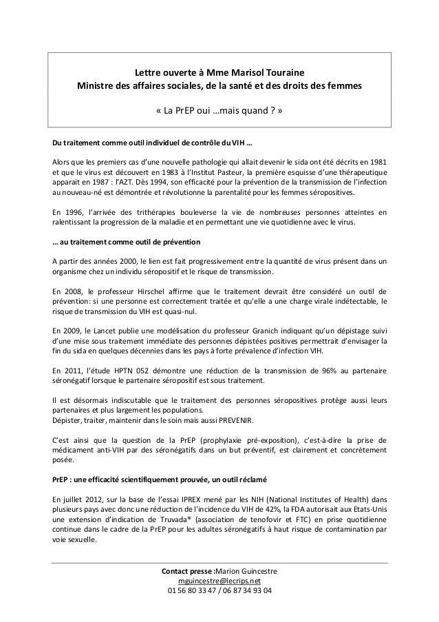 Contact presse :Marion Guincestre mguincestre@lecrips.net 01 56 80 33 47 / 06 87 34 93 04 Lettre ouverte à Mme Marisol Tou...