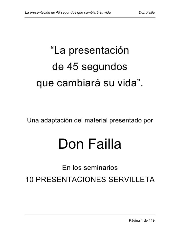 """La presentación de 45 segundos que cambiará su vida        Don Failla               """"La presentación                de 45 ..."""