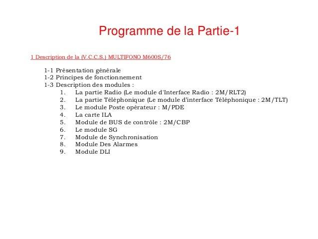 Programme de la Partie-11 Description de la (V.C.C.S.) MULTIFONO M600S/76    1-1 Présentation générale    1-2 Principes de...