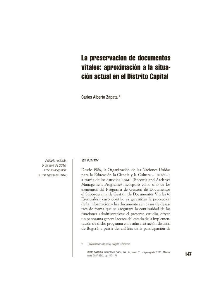 La preservacion de documentos                          vitales: aproximación a la situa-                          ción act...