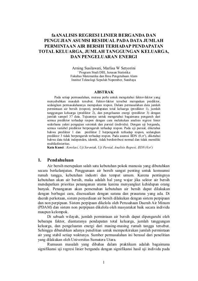 Analisis Regresi Linier Berganda Dan Pengujian Asumsi Residual