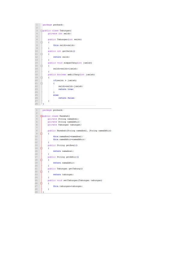 Pbo lapres mengelola kelas mengembangkan package perbankan dengan tambahan class bank source code 9 ccuart Gallery