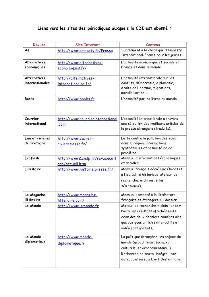 Liens vers les sites des périodiques auxquels le CDI est abonné :     Revues                Site Internet                 ...