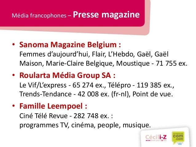Panorama des m dias belges for Sanoma magazines belgium