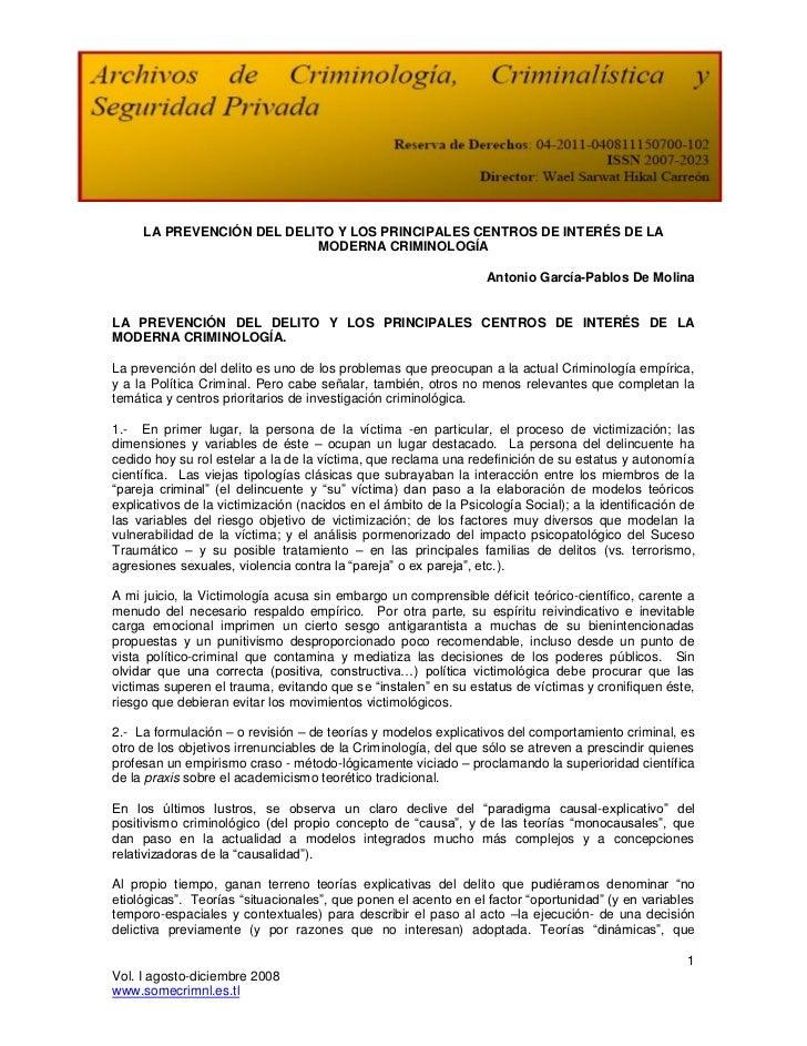 LA PREVENCIÓN DEL DELITO Y LOS PRINCIPALES CENTROS DE INTERÉS DE LA                           MODERNA CRIMINOLOGÍA        ...