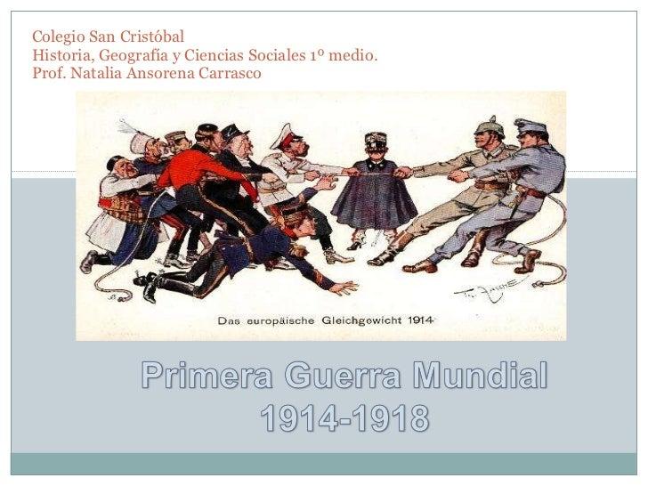 Colegio San Cristóbal Historia, Geografía y Ciencias Sociales 1º medio. Prof. Natalia Ansorena Carrasco