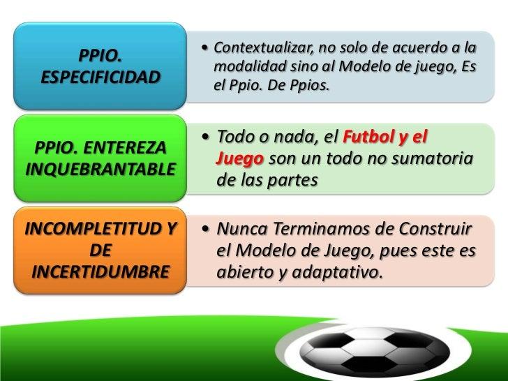 • Contextualizar, no solo de acuerdo a la     PPIO.                    modalidad sino al Modelo de juego, Es ESPECIFICIDAD...