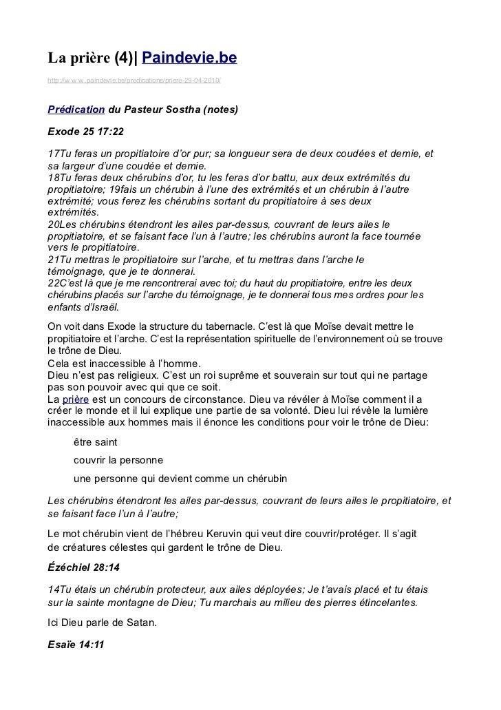 La prière (4)| Paindevie.behttp://w w w .paindevie.be/predications/priere-29-04-2010/Prédication du Pasteur Sostha (notes)...