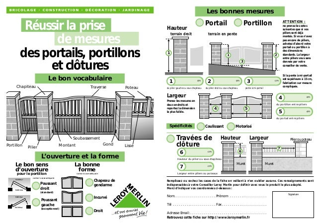 La prise de mesures des portails portillons clotures for Largeur portillon