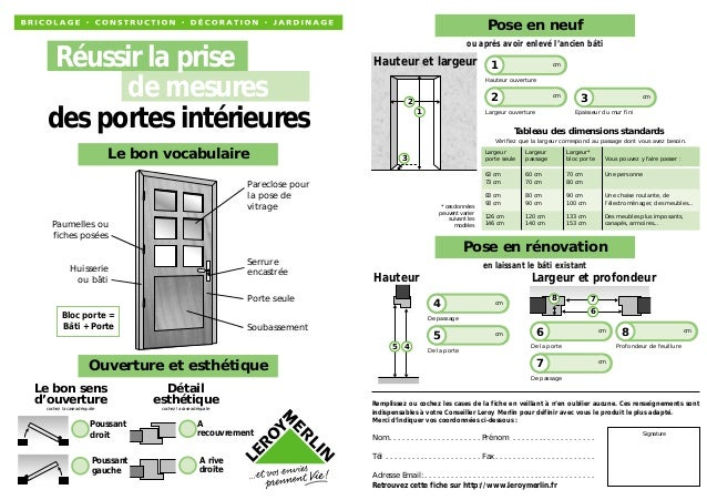 La prises de mesures des portes int rieures for Dimension porte interieur 83