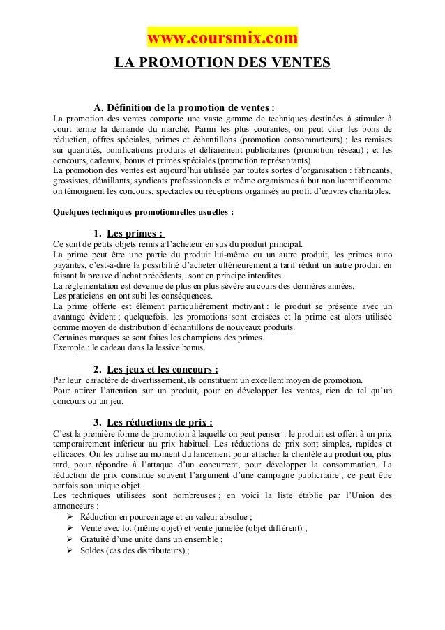 www.coursmix.com                 LA PROMOTION DES VENTES           A. Définition de la promotion de ventes :La promotion d...