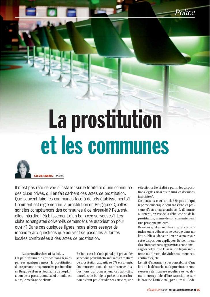 Police                     La prostitution                    et les communes               SYLVIE SMOOS CONSEILLERIl n'es...