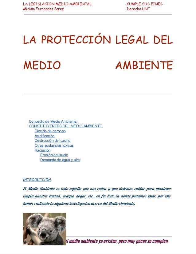 LA LEGISLACION MEDIO AMBIENTAL Miriam Fernandez Perez  CUMPLE SUS FINES Derecho UNT  LA PROTECCIÓN LEGAL DEL MEDIO  AMBIEN...