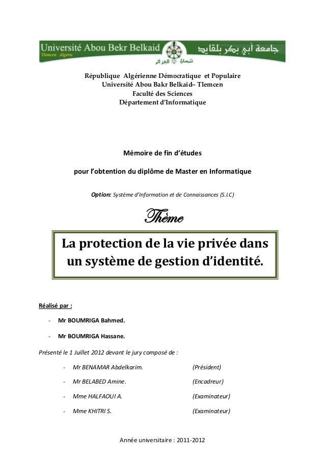 République Algérienne Démocratique et Populaire Université Abou Bakr Belkaid– Tlemcen Faculté des Sciences Département d'I...