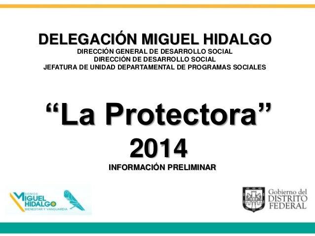 """""""La Protectora"""" 2014 DELEGACIÓN MIGUEL HIDALGO DIRECCIÓN GENERAL DE DESARROLLO SOCIAL DIRECCIÓN DE DESARROLLO SOCIAL JEFAT..."""