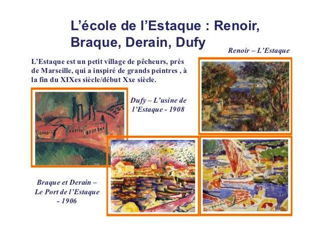 L'école de l'Estaque : Renoir,            Braque, Derain, Dufy     Renoir – L'EstaqueL'Estaque est un petit village de pêc...
