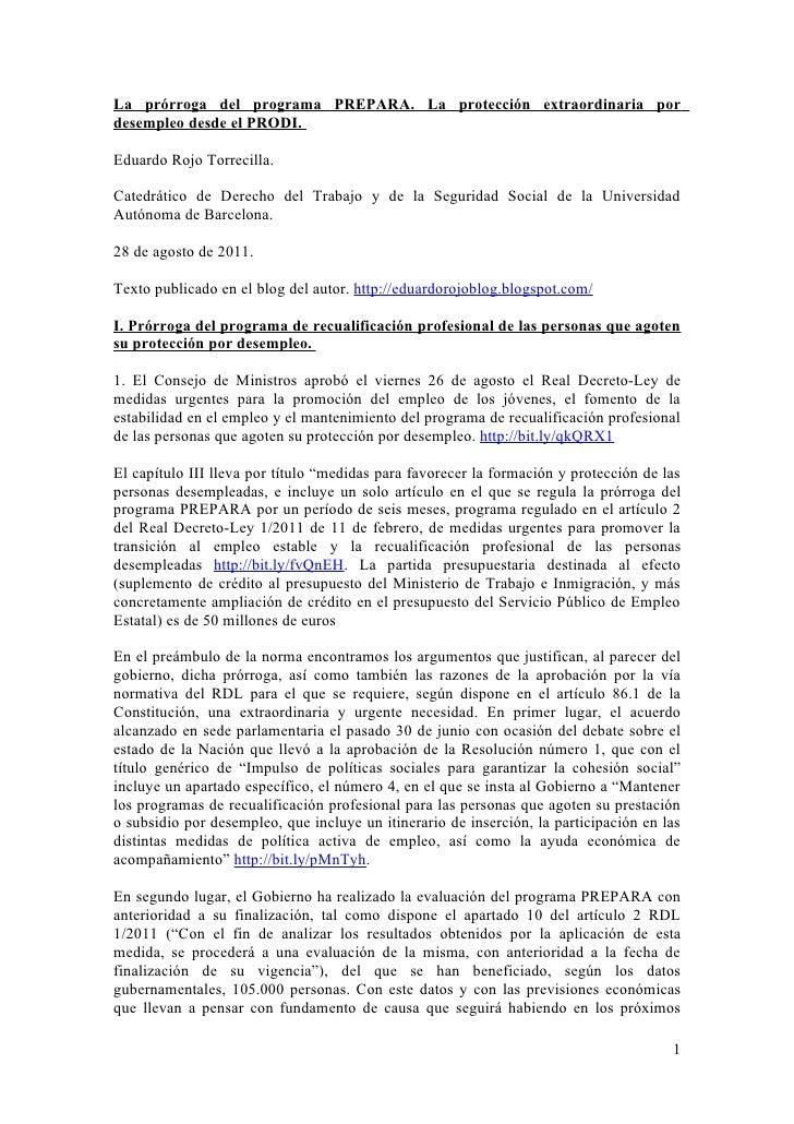 La prórroga del programa PREPARA. La protección extraordinaria pordesempleo desde el PRODI.Eduardo Rojo Torrecilla.Catedrá...