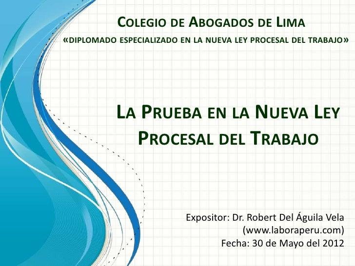 COLEGIO DE ABOGADOS DE LIMA«DIPLOMADO ESPECIALIZADO EN LA NUEVA LEY PROCESAL DEL TRABAJO»           LA PRUEBA EN LA NUEVA ...