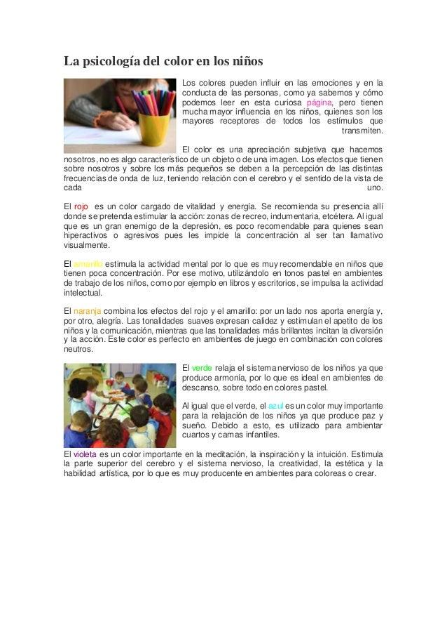 La psicología del color en los niños