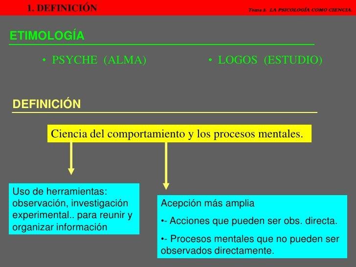 1. DEFINICIÓN   Tema 2.  LA PSICOLOGÍA COMO CIENCIA.<br />ETIMOLOGÍA<br /><ul><li>  PSYCHE  (ALMA)