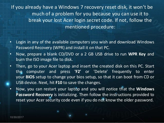 acer laptop windows 7 password recovery