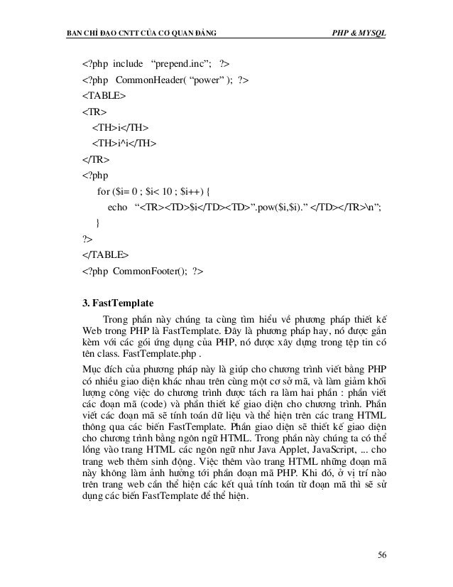 "Ban chØ ®¹o cntt cña c¬ quan ®¶ng PHP & MySQL 56 <?php include ""prepend.inc""; ?> <?php CommonHeader( ""power"" ); ?> <TABLE>..."