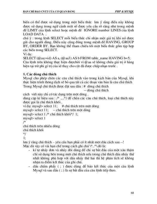 Ban chØ ®¹o cntt cña c¬ quan ®¶ng PHP & MySQL 68 biÕn cã thÓ ®−îc sö dông trong mét biÓu thøc l−u ý r»ng ®iÒu nµy kh«ng ®−...