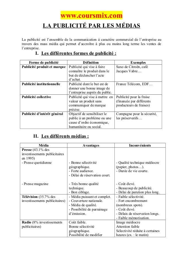www.coursmix.com              LA PUBLICITÉ PAR LES MÉDIASLa publicité est l'ensemble de la communication à caractère comme...