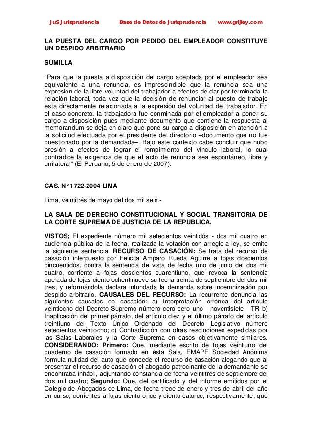 JuS Jurisprudencia Base de Datos de Jurisprudencia www.grijley.com LA PUESTA DEL CARGO POR PEDIDO DEL EMPLEADOR CONSTITUYE...