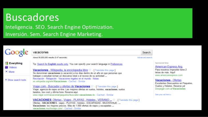 Buscadores Inteligencia. SEO. Search Engine Optimization.  Inversión. Sem. Search Engine Marketing.