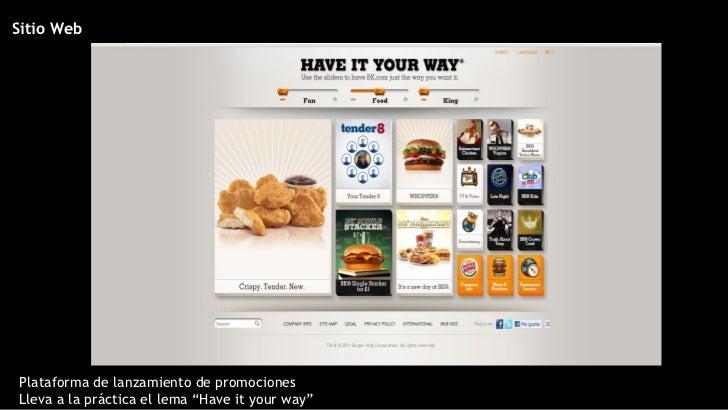 """Sitio Web Plataforma de lanzamiento de promociones Lleva a la pr áctica el lema """"Have it your way"""""""