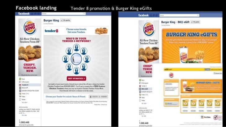 Tender 8 promotion & Burger King eGifts Facebook landing