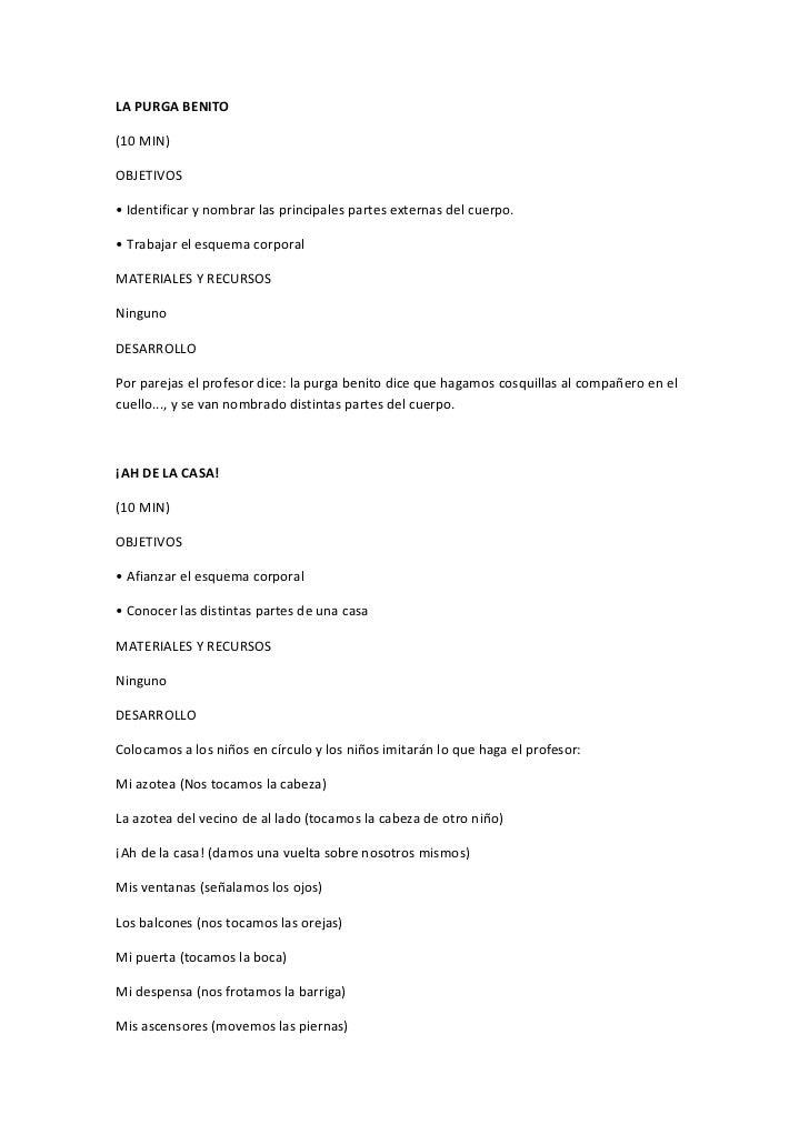 LA PURGA BENITO(10 MIN)OBJETIVOS• Identificar y nombrar las principales partes externas del cuerpo.• Trabajar el esquema c...