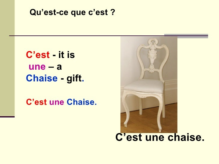 La question en francais in french for Chaise dictionary