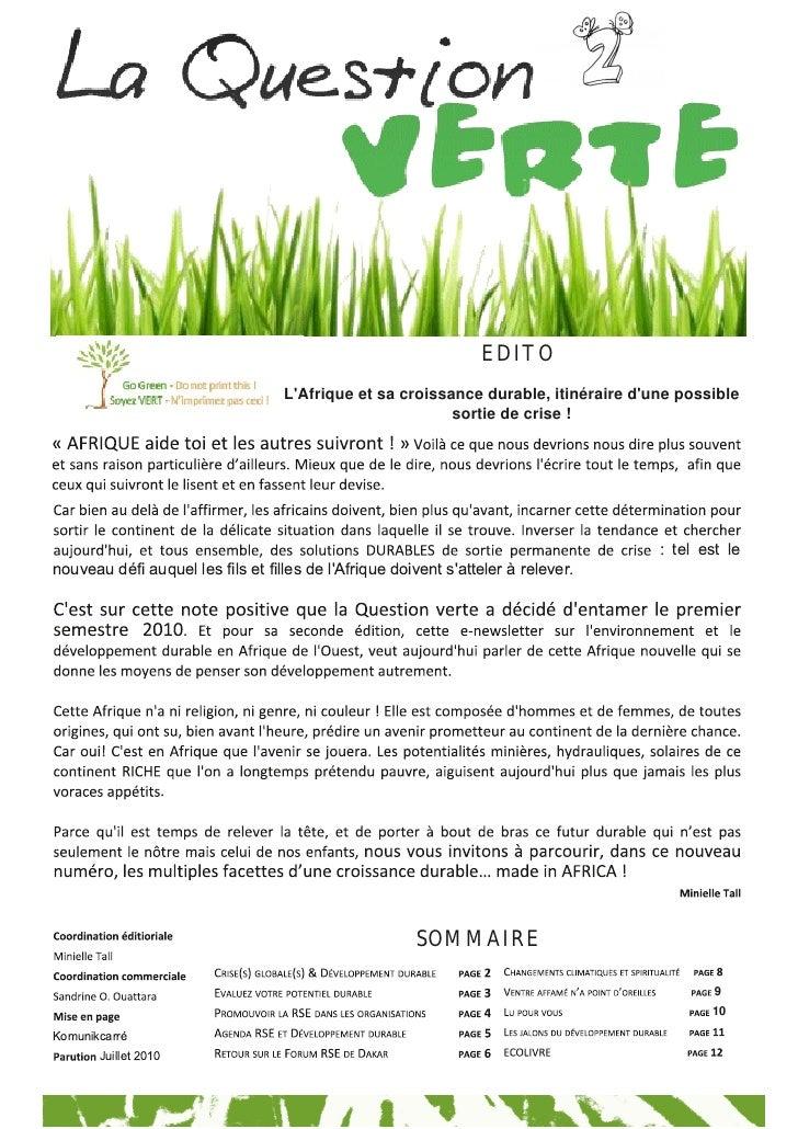 EDITO                                   LAfrique et sa croissance durable, itinéraire dune possible                       ...