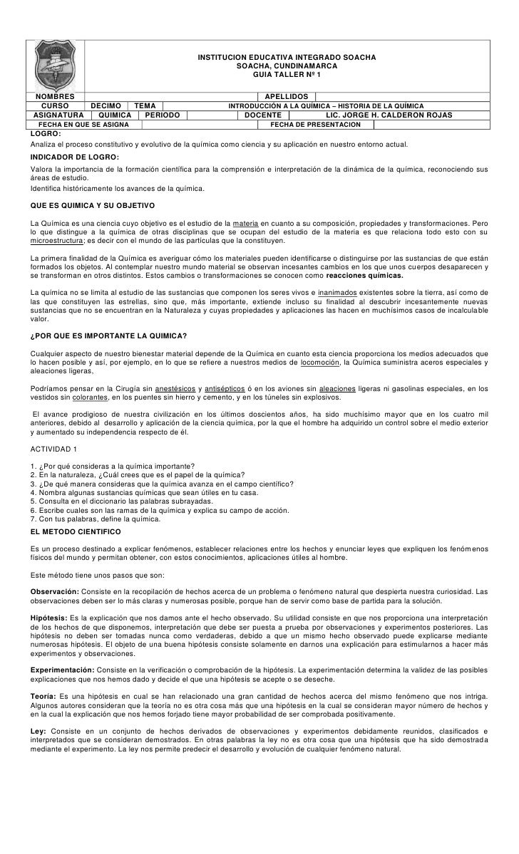 INSTITUCION EDUCATIVA INTEGRADO SOACHASOACHA, CUNDINAMARCAGUIA TALLER Nº 1NOMBRESAPELLIDOSCURSODECIMOTEMAINTRODUCCIÓN A LA...