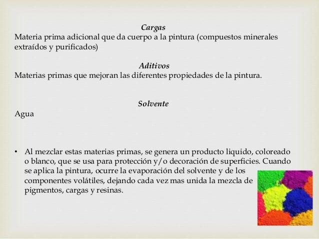 Cargas Materia prima adicional que da cuerpo a la pintura (compuestos minerales extraídos y purificados) Aditivos Materias...