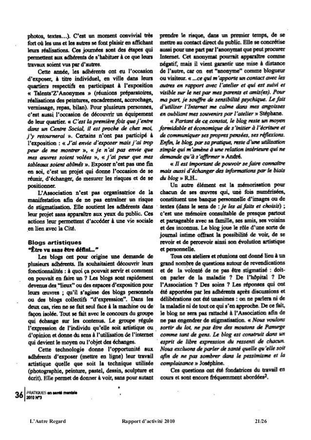 L'Autre Regard   Rapport d'activité 2010   21/26